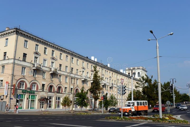 基洛夫街在维帖布斯克 库存照片