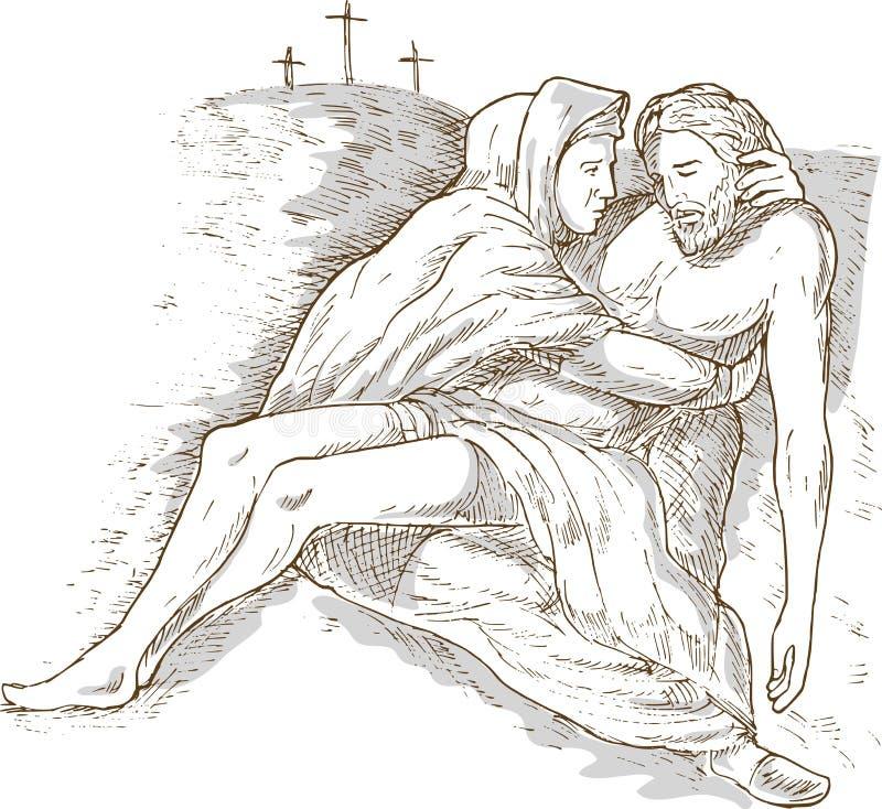 基督停止的耶稣・玛丽母亲 向量例证