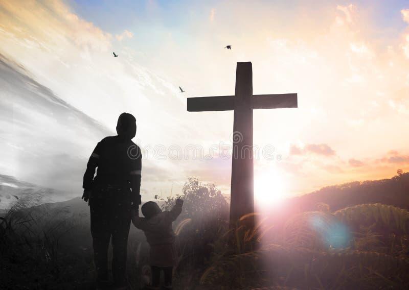基督受难日概念:耶稣基督在十字架上钉死的例证在基督受难日的 免版税库存照片