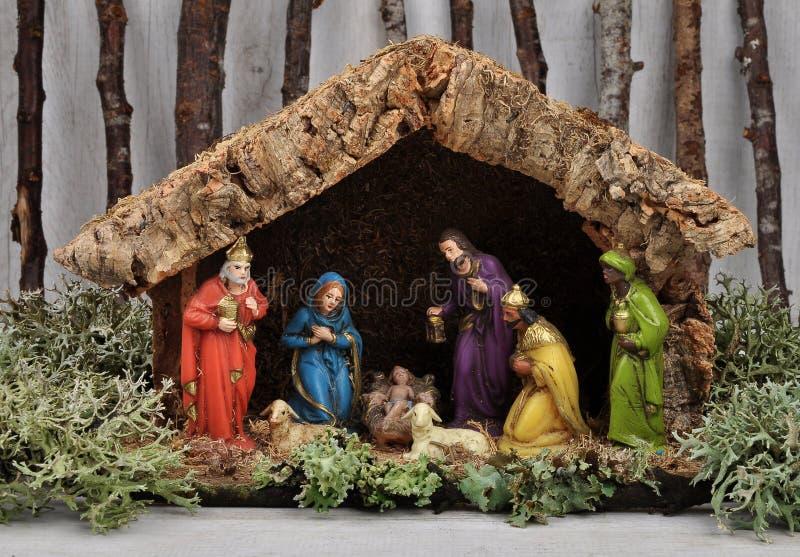基督圣诞节小儿床耶稣・约瑟夫・玛丽诞生场面 免版税库存照片