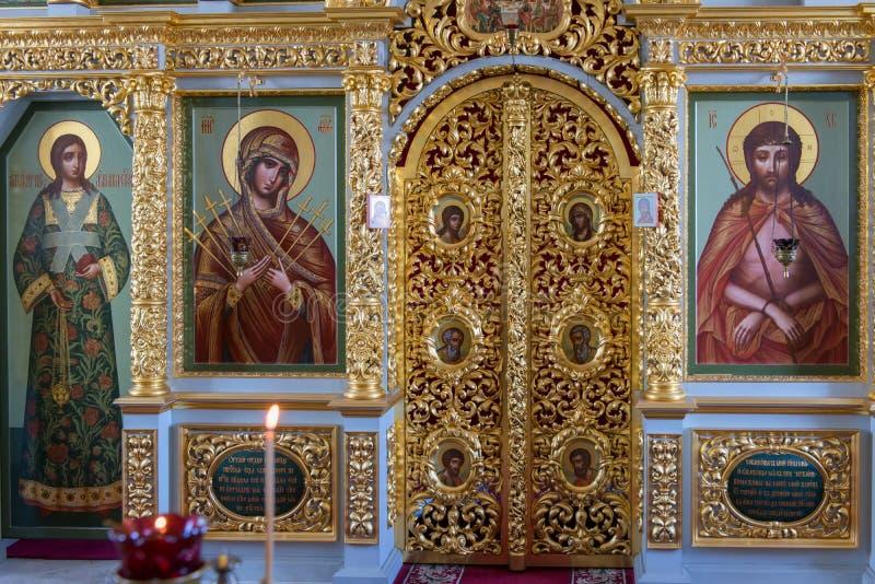 基督在十字架上钉死的教会的法坛Golgotha耶稣受难象skete的 库存照片
