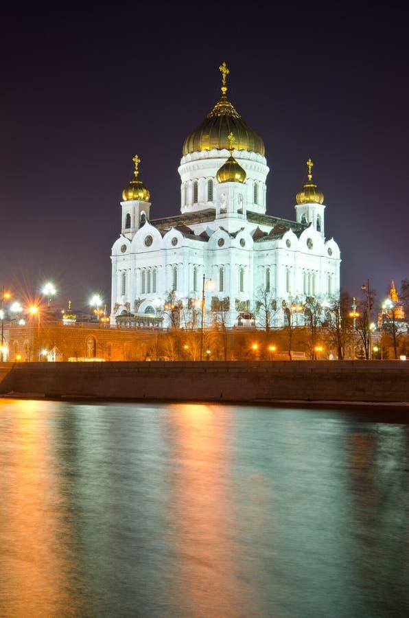 基督大教堂救主在晚上 图库摄影