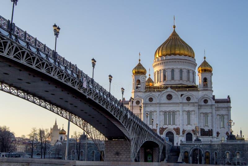 基督大教堂救主在莫斯科,俄国 在明亮的毛皮红色星期日之上日落冠上结构树冬天 库存图片