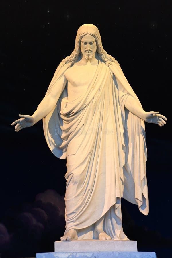 基督市耶稣湖盐雕象 免版税库存图片