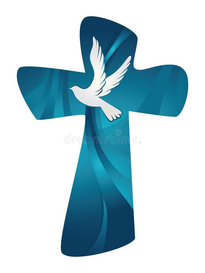 基督徒交叉 与鸠的抽象圣灵在蓝色背景 向量例证