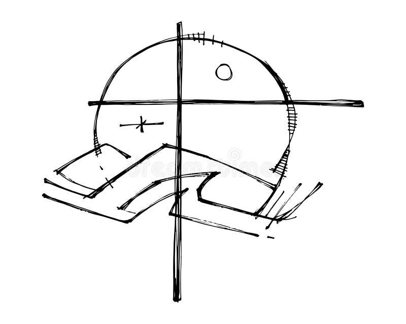 基督徒十字架和自然标志例证 向量例证