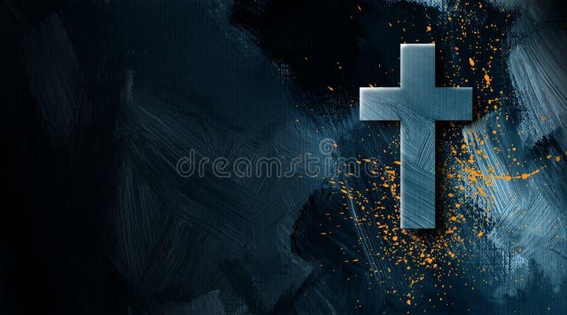 基督徒十字架有金黄油漆泼溅物图表背景 库存例证