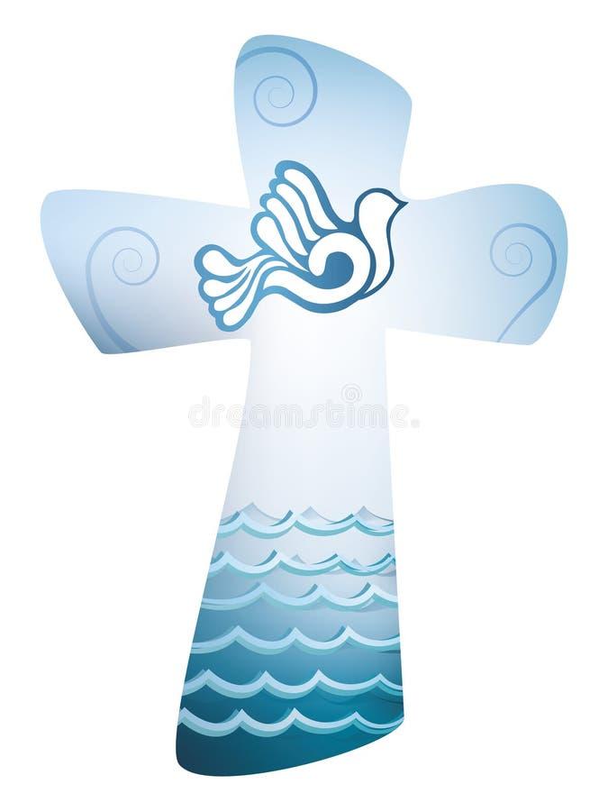 基督徒发怒洗礼 与鸠和海的圣灵标志 向量例证