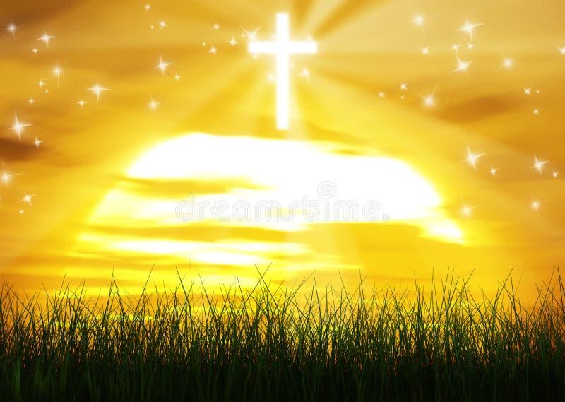 基督徒发怒耶稣基督太阳光芒背景 皇族释放例证