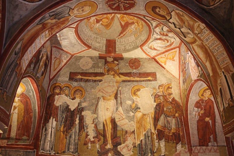 基督徒壁画在古老地下洞教会里在土耳其 免版税库存照片