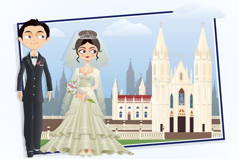 基督徒婚礼夫妇 向量例证