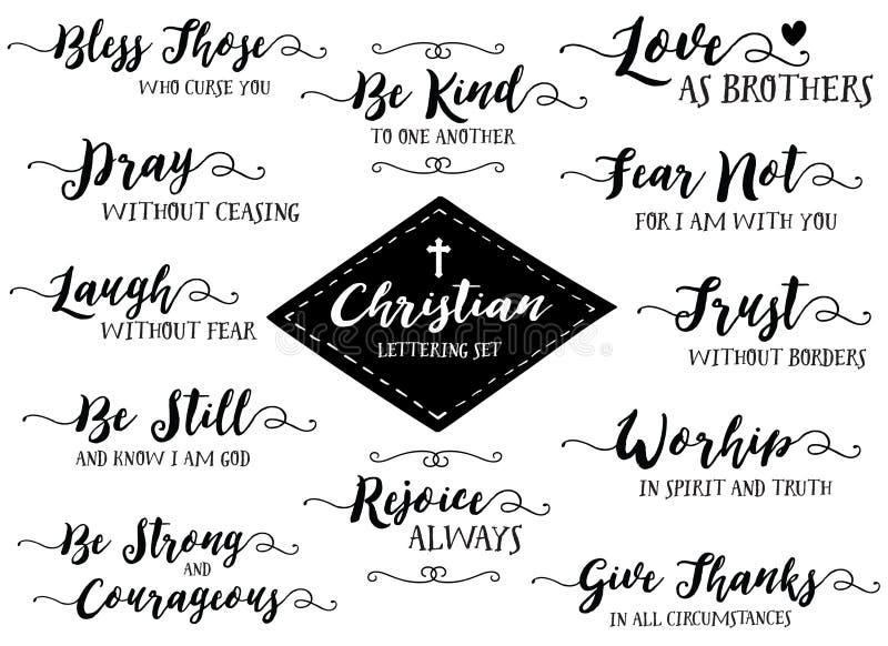 基督徒手字法传染媒介集合,黑在白色 库存例证