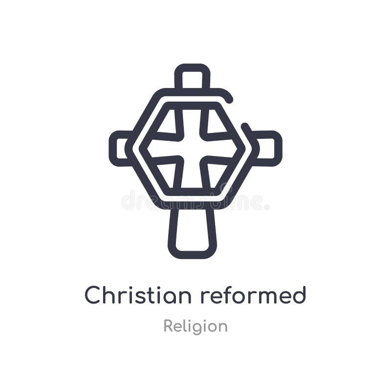 基督徒改革了教会概述象 r 编辑可能的稀薄的冲程基督徒 向量例证
