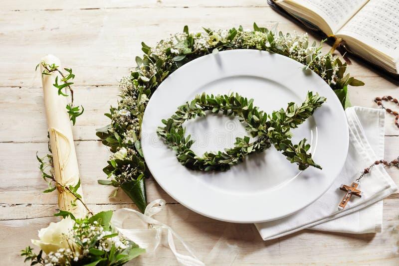 基督徒晚上餐位餐具喜欢洗礼仪式或圣餐 图库摄影