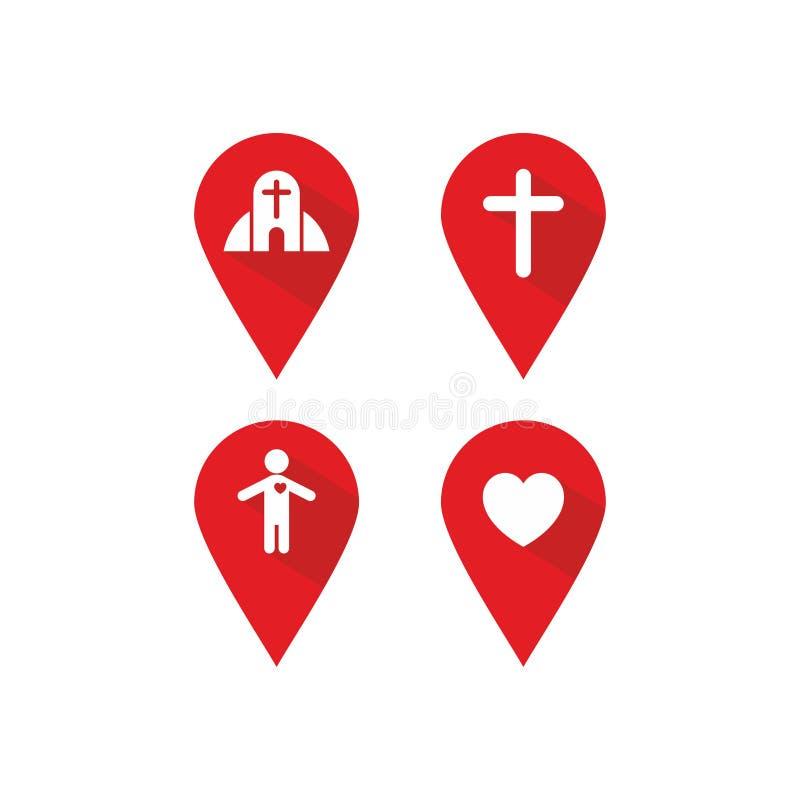 基督徒标签地点和方向,象 皇族释放例证