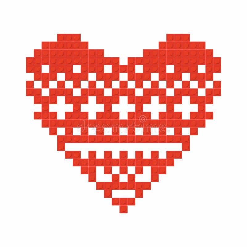 基督徒艺术 五颜六色的连结的塑料砖,塑料建筑 心脏 向量例证