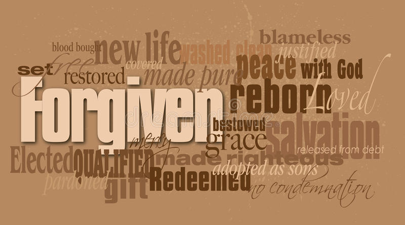 基督徒被原谅的词蒙太奇 向量例证
