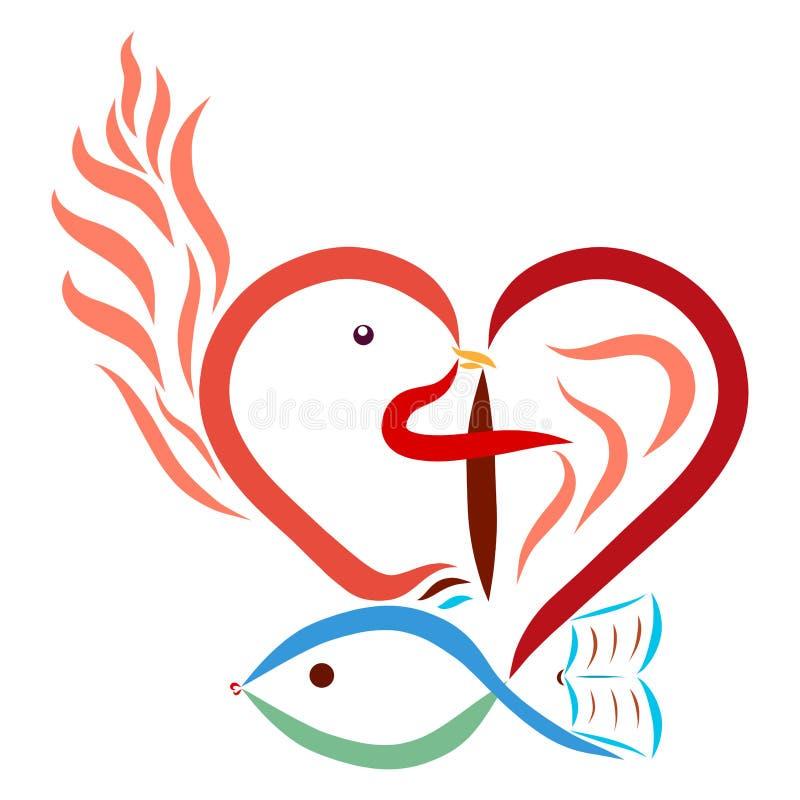 基督徒象征主义心脏十字架鸠鱼发火焰圣经 库存例证
