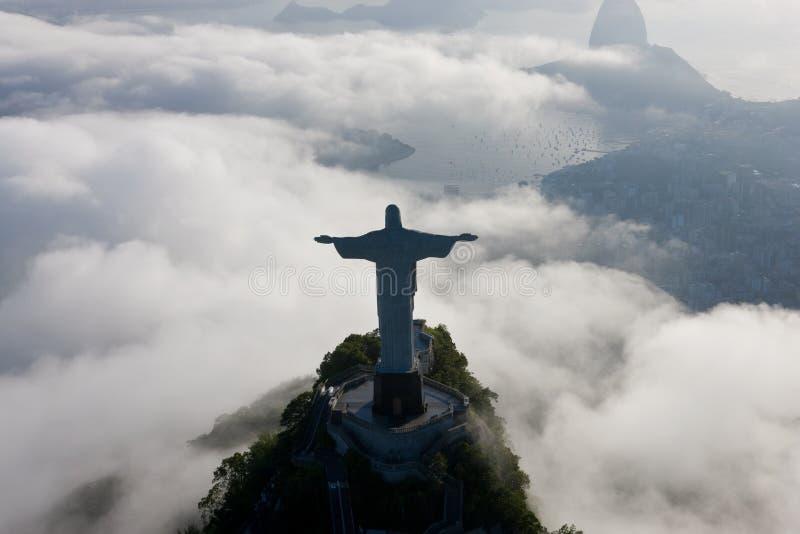 基督救世主雕象,科尔科瓦多湾,里约热内卢,巴西 免版税库存照片