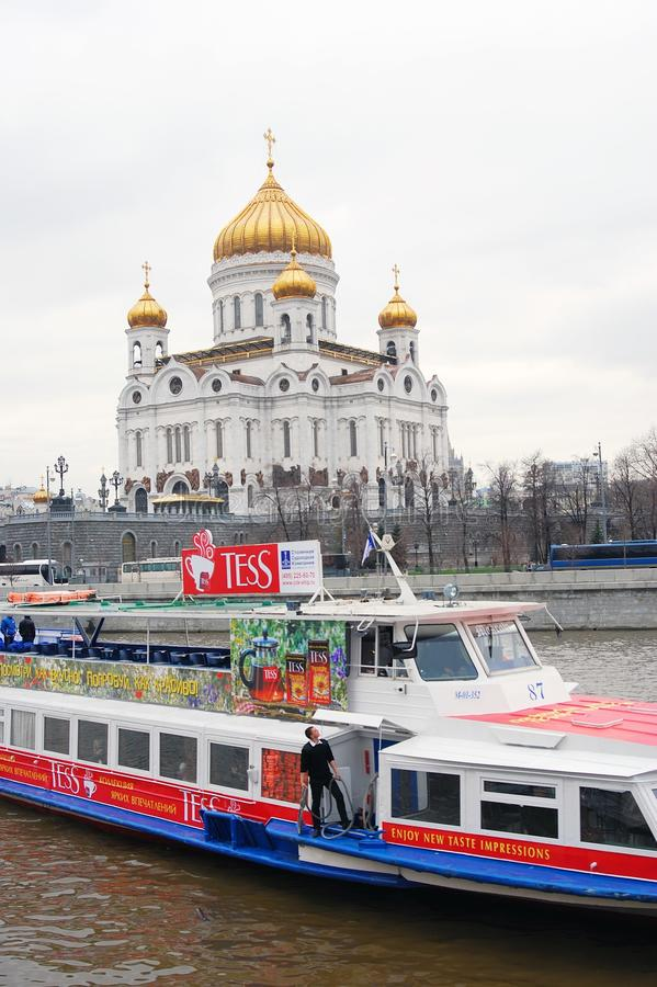 基督教会莫斯科俄国救主 巡航小船 库存图片
