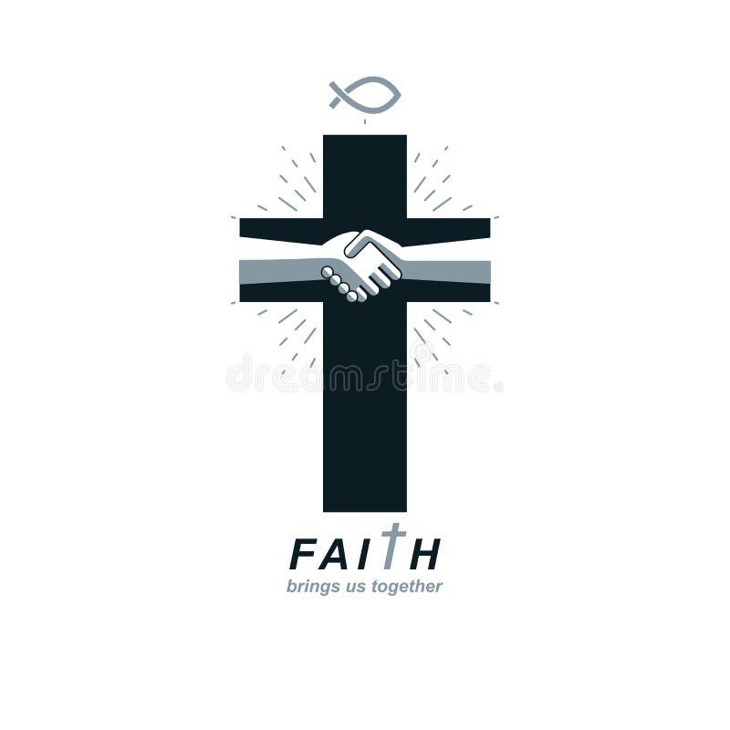 基督教十字架真实的信仰在耶稣传染媒介标志,基督徒宗教象 皇族释放例证