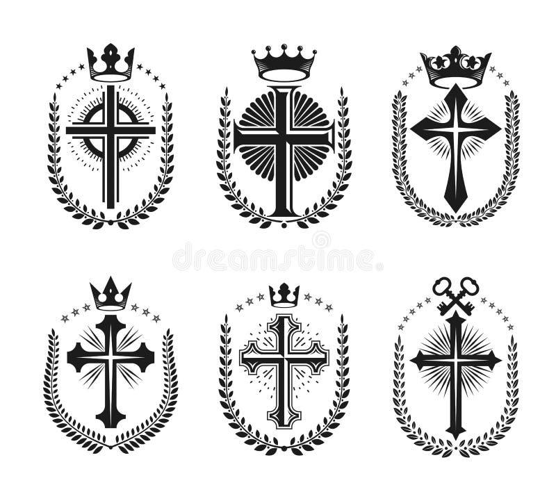 基督教被设置的宗教象征十字架  纹章学徽章装饰商标被隔绝的传染媒介 皇族释放例证