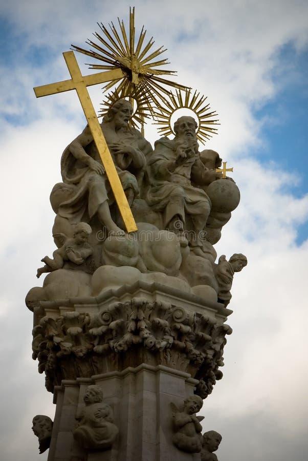基督父亲神耶稣坐的联系 免版税库存图片