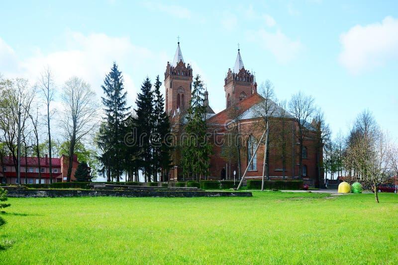 基督的假定教会在Kupiskis镇 免版税库存图片