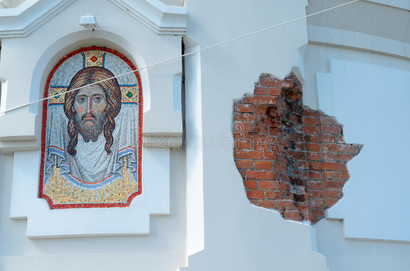基督的图象在墙壁上的 免版税库存图片