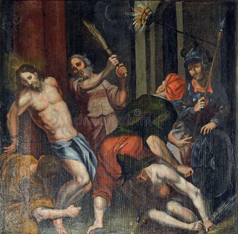 基督的鞭打 免版税库存照片