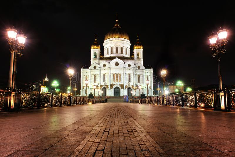 基督莫斯科夜照片的救主大教堂 免版税图库摄影