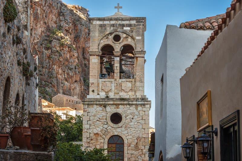 基督被囚禁的赫里斯托斯Elkomenos -莫奈姆瓦夏-伯罗奔尼撒,希腊教会  免版税库存照片
