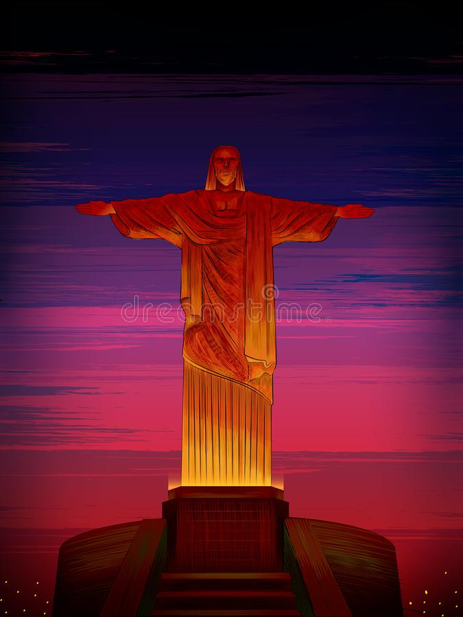 基督里约热内卢,巴西的救世主举世闻名的历史纪念碑 向量例证