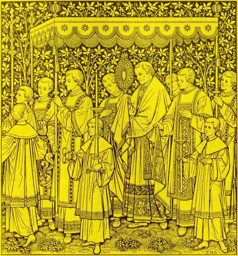 基督队伍最圣洁的身体和血液的宴餐的石版印刷由未知的艺术家F的 M S 1889 免版税库存照片