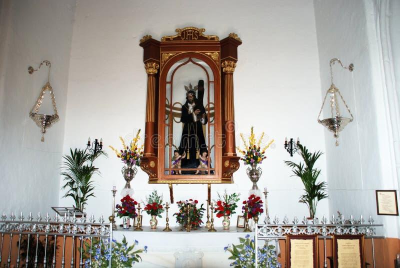 基督雕象在阿洛拉教会里 免版税库存图片