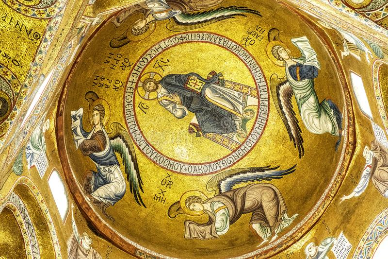 基督马赛克在巴勒莫 免版税库存照片