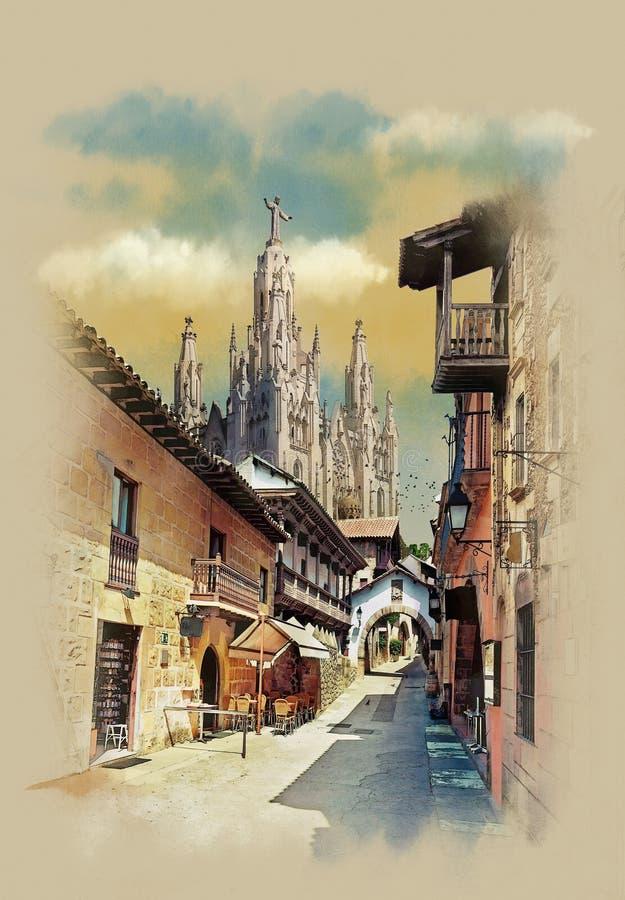 基督,老街道山雕象的Tibidabo教会在巴塞罗那,西班牙 向量例证