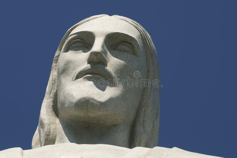 基督Corcovado的救世主面对特写镜头 库存图片