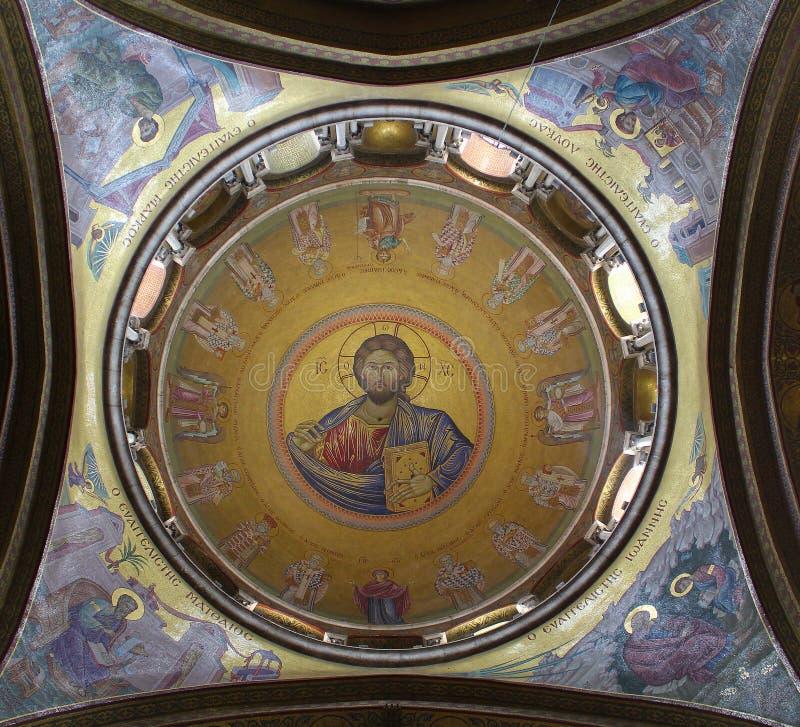 基督Pantokrator在圣墓教堂,基督的坟茔,在耶路撒冷耶路撒冷旧城,以色列 免版税库存图片