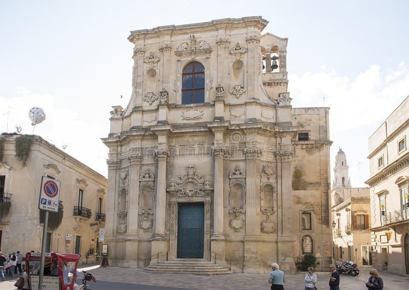 基耶萨二圣塔Chiara,莱切,意大利 免版税库存照片