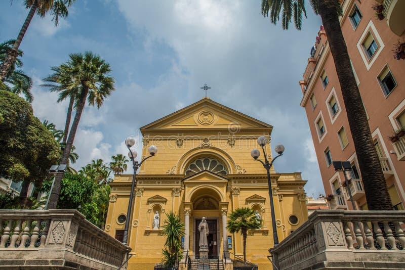 基耶萨dei Cappuccini,教会在圣雷莫,意大利 免版税库存照片