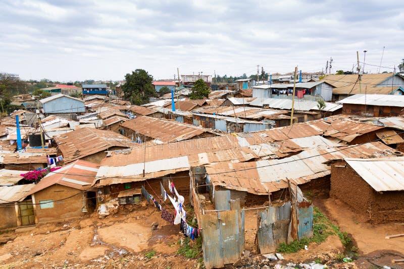 基贝拉是非洲最大的贫民窟 肯尼亚内罗毕贫民窟 图库摄影