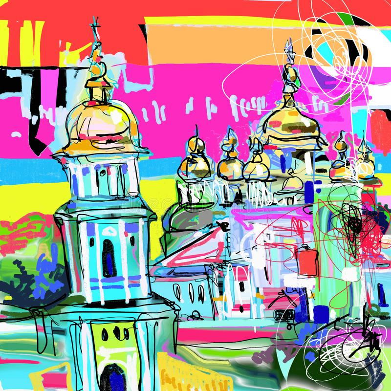 基辅乌克兰都市风景,旅行卡片原始的当代数字艺术  库存例证