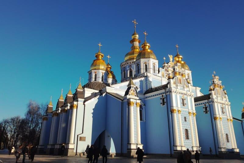 基辅乌克兰- 26 12 2018年:圣迈克尔金黄半球形的修道院,著名教会复合体在欧洲 免版税库存照片