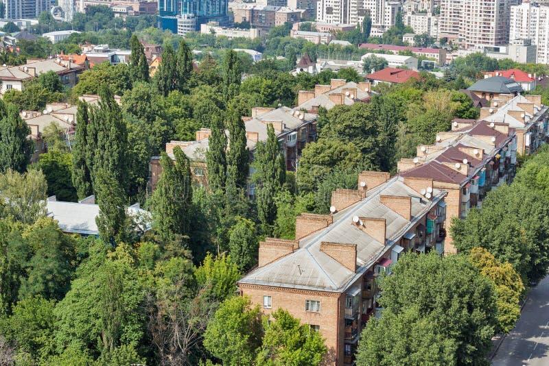 基辅从上面市地平线,街市都市风景,乌克兰的首都 库存图片
