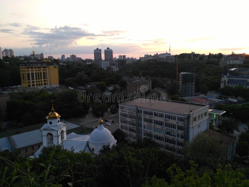 基辅在晚上 免版税库存照片