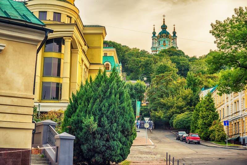 基辅或Kiyv,乌克兰:圣安德鲁东正教在市中心 图库摄影