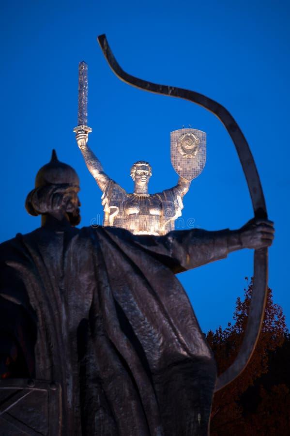 基辅纪念碑的创建者的细节 库存照片