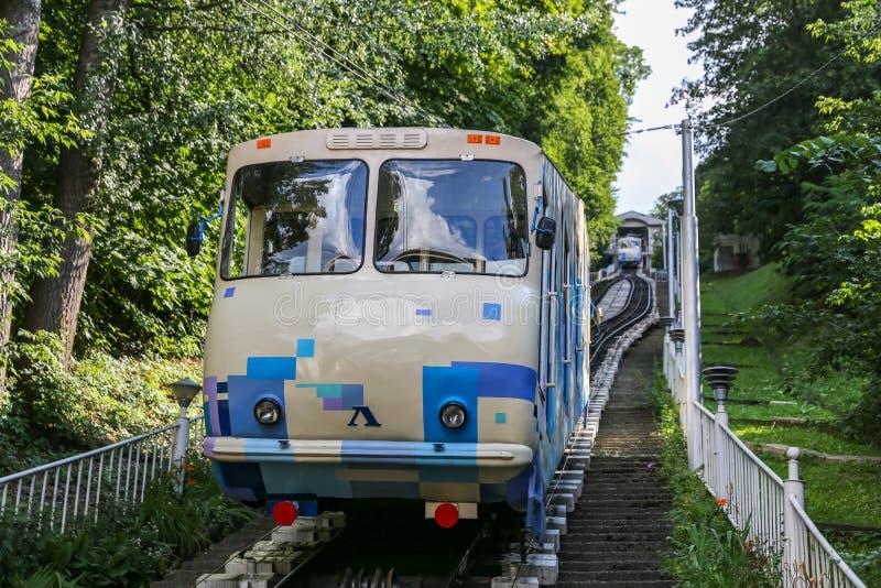 基辅缆索铁路在Ukrain 库存照片