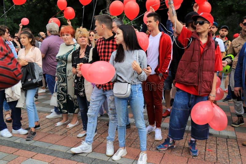 基辅,乌克兰,阿纳托利Shariy 06 28 2019个支持者来了到竞选召集乌克兰Verkhovna Rada的议会与 图库摄影